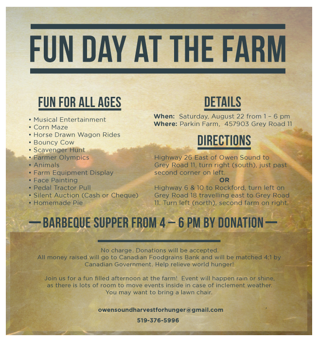 Fun day at the farm owen sound harvest for hunger download the above information fandeluxe Choice Image